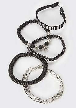 5-Pack Black Beaded Silver Crown Bracelet Set
