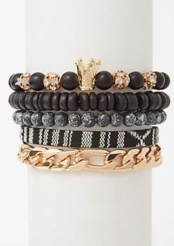 5-Pack Black Beaded Crown Bracelet Set