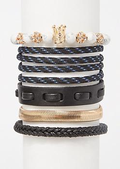 5-Pack White Marble Crown Braid Bracelet Set