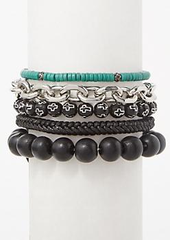 5-Pack Teal Bead Silver Cross Bracelet Set