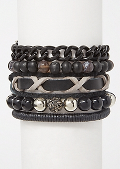 5-Pack Black Bead Chain Bracelet Set