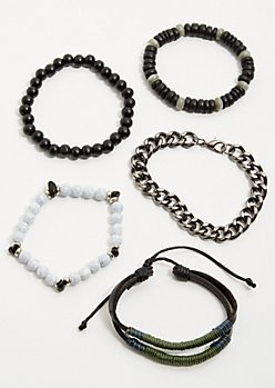 5-Pack Black Dark Metal Chain Stretch Bracelet Set