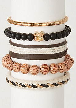 5-Pack Ivory Rope Tiger Bracelet Set