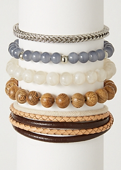 5-Pack Brown Leather Neutral Bracelet Set