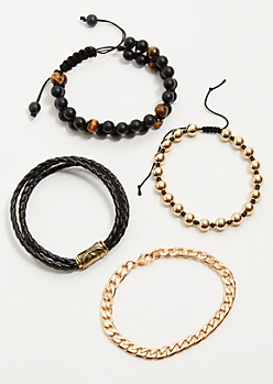 4-Pack Gold Chain Stretch Bracelet Set