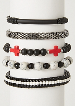 5-Pack Red Cross Marbled Bracelet Set