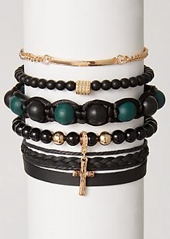 5-Pack Green Bead Cross Bracelet Set