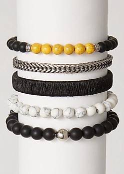 5-Pack Marble Bead Bracelet Set