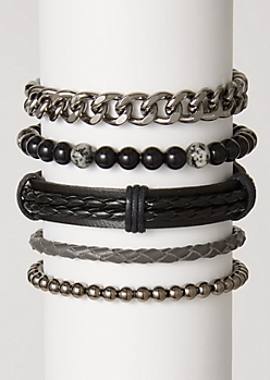 5-Pack Black Braid Chain Bracelet Set