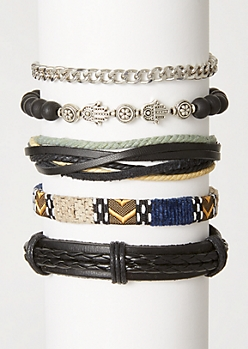 5-Pack Black Braided Bracelet Set