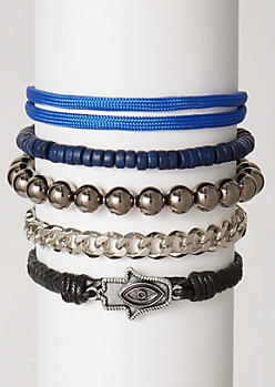 5-Pack Blue Metallic Bracelet Set