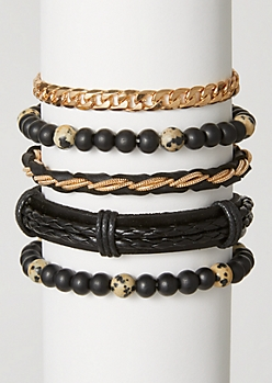 5-Pack Black Speckled Chain Bracelet Set
