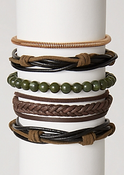 5-Pack Green Bead Wrap Bracelet Set