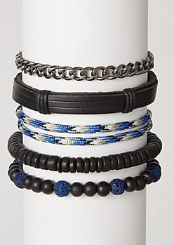 5-Pack Blue Beaded Chain Bracelet Set