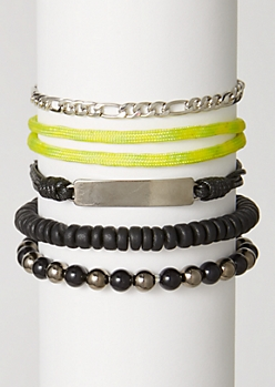 5-Pack Neon Metallic Bead Bracelet Set