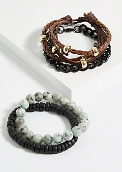 4-Pack Black Beaded Faux Leather Bracelet Set