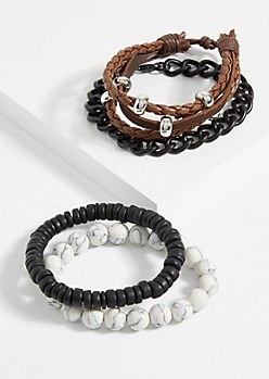 4-Pack White Beaded Faux Leather Bracelet Set