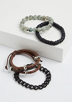 4-Pack Beaded and Braided Bracelet Set