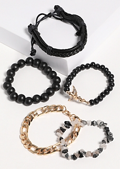5-Pack Black Stone Bracelet Set