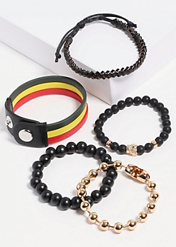 5-Pack Gold Rasta Beaded Bracelet Set