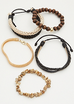 5-Pack Gold Chain Stone Stretch Bracelet Set