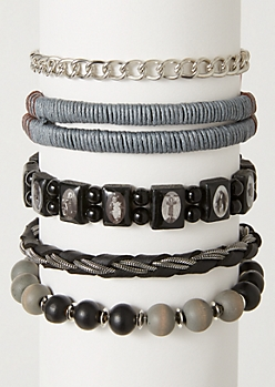 5-Pack Silver Chain Beaded Stretch Bracelet Set