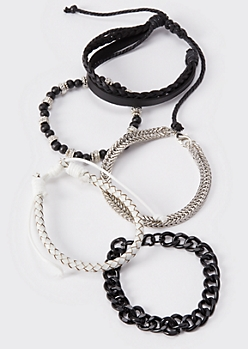 5-Pack Black And White Wrap Bracelets