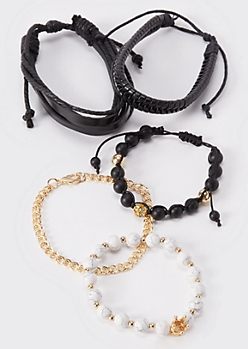 5-Pack Gold Chain Bead Bracelets