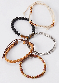5-Pack Camel Braided Faux Leather Bracelets