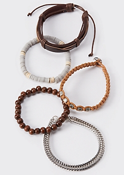 5-Pack Cowry Shell Bead Bracelets