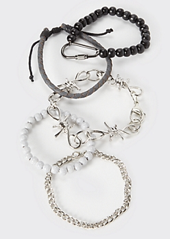 5-Pack Marbled Barbed Wire Chain Bracelet Set