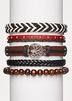 5-Pack Hemp Tree Bracelet Set