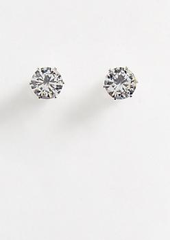 Silver 2 Carat Cubic Zirconia Stud Earrings