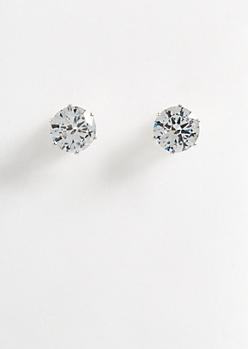 Silver 4 Carat Cubic Zirconia Stud Earrings