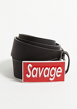 Black Enamel Savage Buckle Belt
