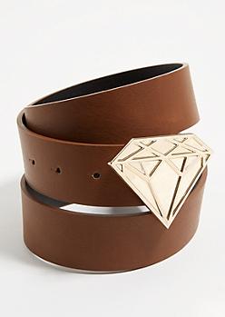 Brown Diamond Buckle Belt