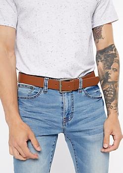 Brown Faux Leather Antique Belt