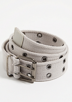 Gray Grommet Web Belt
