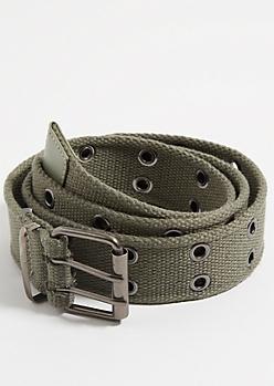 Olive Grommet Web Belt