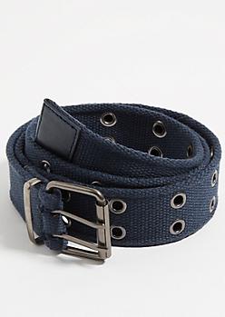 Navy Grommet Web Belt
