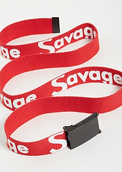 Red Woven Savage Belt