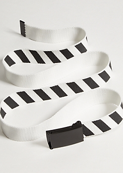 White Diagonal Striped Web Belt