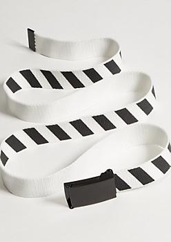 White Diagonal Striped Web Belt