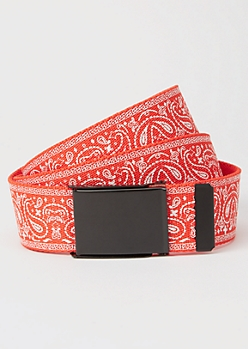 Red Bandana Print Thick Web Belt
