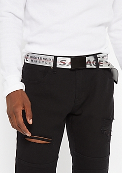 Silver Savage Hustle Web Belt