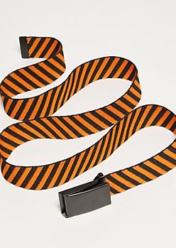 Orange Diagonal Striped Thick Web Belt
