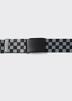 Black Checkered Print Web Belt