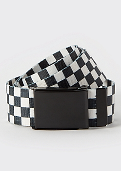 Checkered Print Thick Web Belt