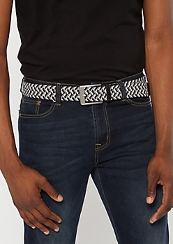 Gray Striped Woven Stretch Belt
