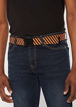 Orange Striped Utility Buckle Belt